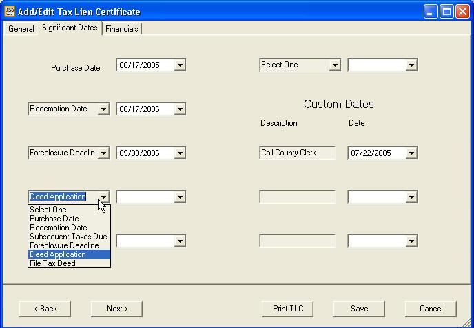 Tax Lien Software For Tax Certificates Deeds Software Screen Shots